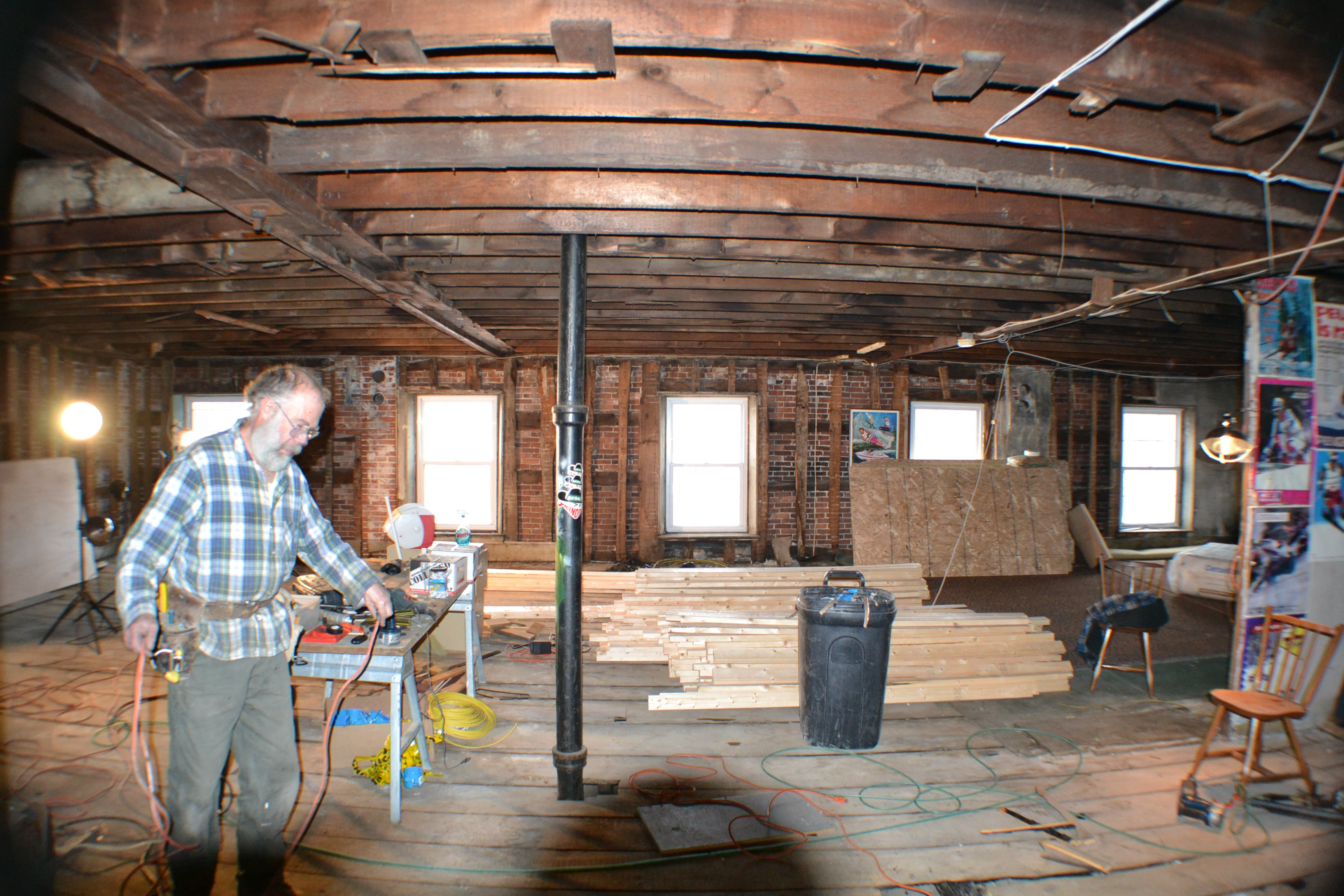Carl working on the new studio