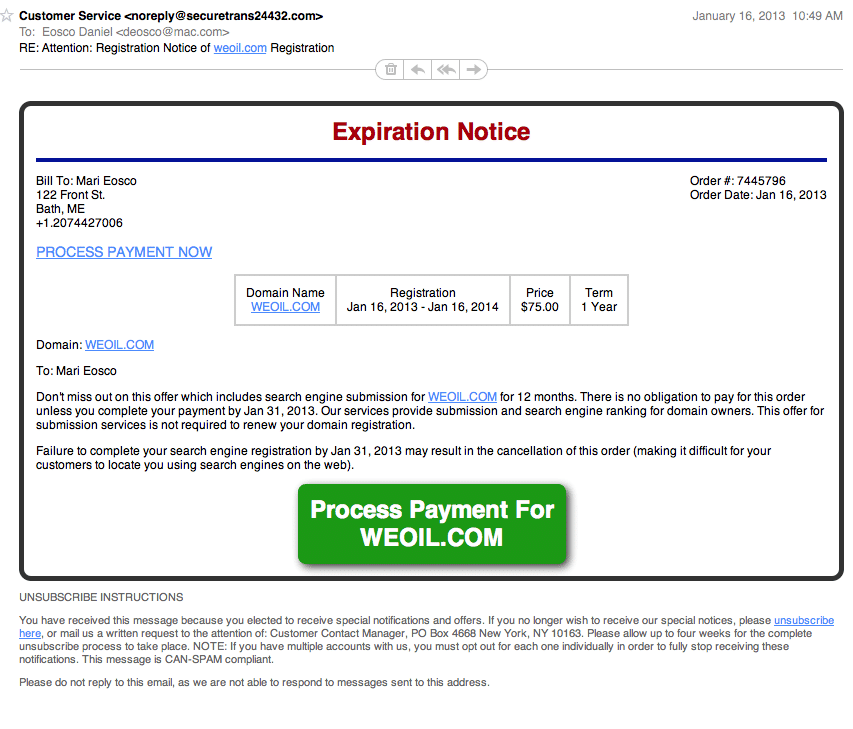 ANOTHER Domain Registration Scam!