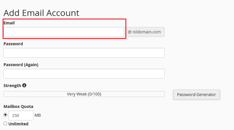 how to add an email account in cpanel