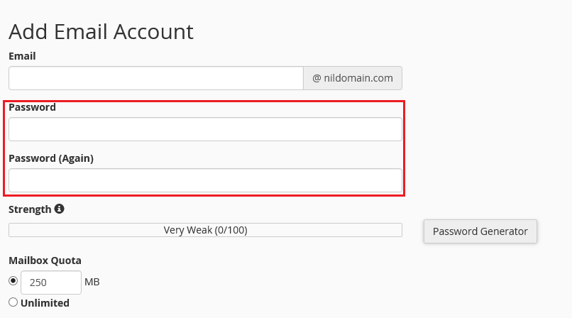 creating an email password in cpanel