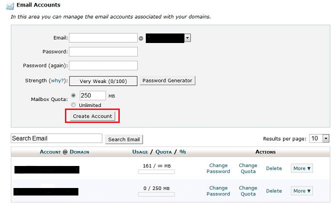 deleting an email account in cpanel