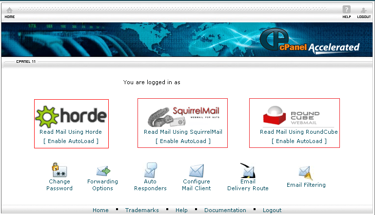Using horde or RoundCube or SquirrelMail