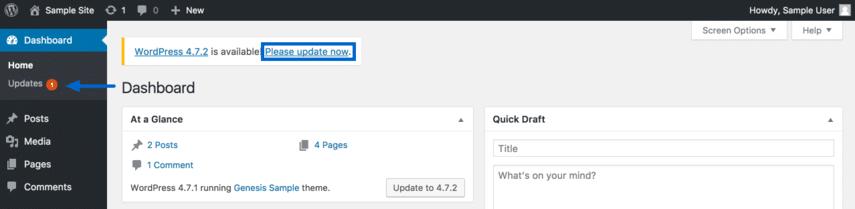 Update WordPress via the Dashboard